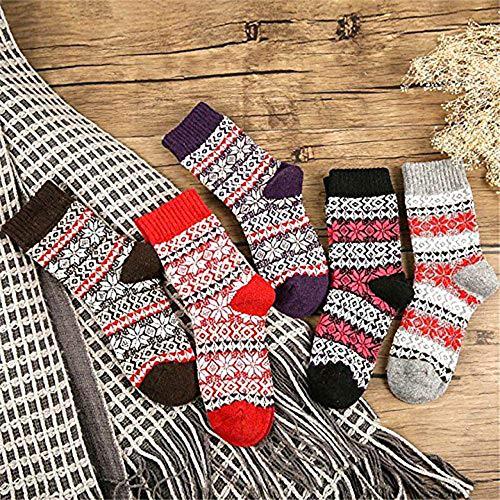YANSHG® 5 Pack Femmes Hiver Automne Crew Chaussettes Douces Retro Style Tricot Chaussettes Casual