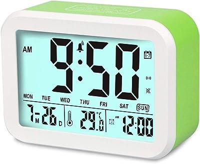 Aiduy Reloj Digital, Reloj Despertador con Fecha y indicador de Temperatura, Alarma de Sensor táctil y de luz, para niños y Adolescentes (Verde)