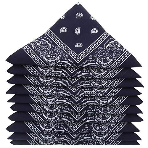KARL LOVEN Lote de 5 bandanas 100% Algodon Paisley Panuelo Cabeza Cuello Bufanda (Juego de 5, Azul marino)