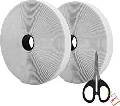 AIEX 39.37 Feet/12m Hook And Loop Self Adhesive Tape Roll With Gift Scissors (White)