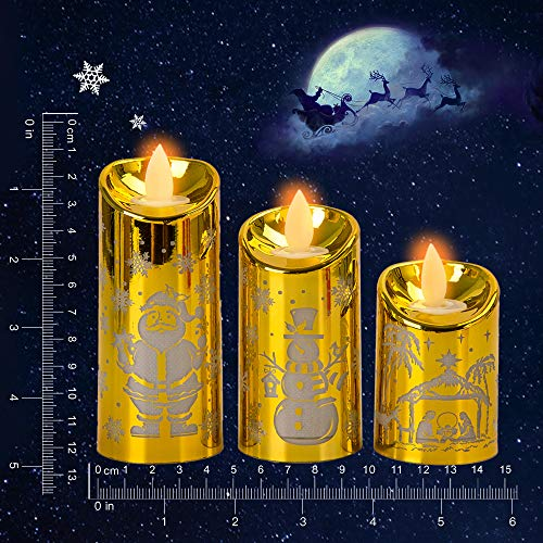 Christmas Candles Flickering Flameless Candles Battery Operated LED Candles Set of 3 Santa Claus, Snowman, Christmas Village for Christmas Decorations Christmas Decor Home Decoration Gifts (Gold)