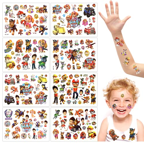 Paw Patrol Tattoo Kinder, 8 Blätter Tattoo Kinder, Paw Patrol Kindertattoos Aufkleber, Temporäre Tattoos Set, Kindertattoo, Wasserdichte Kindertattoos, Kindergeburtstagsgeschenk Partydekoration
