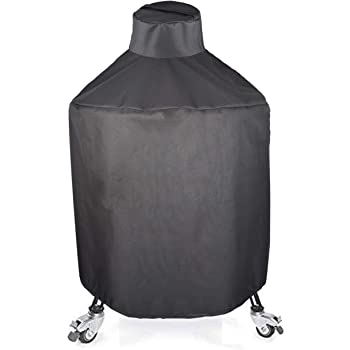 Mini Lustrous Cover for Kamado Joe Big Joe II Grill, Heavy Duty Kamado Ceramic Grill Cover, Outdoor All Weather Grill Cover with Durable and Waterproof Fabric, Black