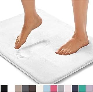Gorilla Grip Original Thick Memory Foam Bath Rug, 30x20, Cushioned, Soft Floor Mats, Absorbent Premium's Bathroom Mat Rugs, Machine Washable, Luxury Plush Comfortable Carpet for Bath Room, White