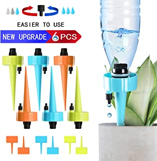 getbear Upgrade Plant Waterer, Adjustable Plant Watering Devices, Self Watering Spikes, Automatic Vacation Drip Irrigation Watering Bulbs Globes with Slow Release Control Valve Switch (6 Pack)