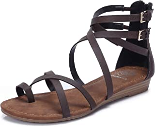 CAMEL CROWN Women's Gladiator Flat Sandals Open Toe Lace up Strappy Back Zipper Casual Outdoor Dress Shoes