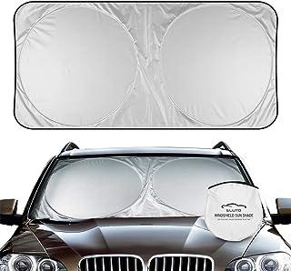 ELUTO Car Windshield Sun Shade Foldable Car Sun Shade for Windshield Cover Sunshade Reflect Blocks UV Rays Sun Visor Protector Sun Shade Fits Most Windshields(X-Large 67.3 x 37 inches)