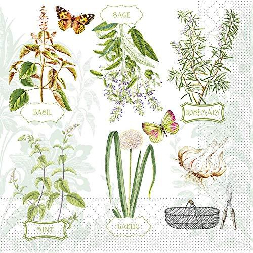 Vlag HORECA servet Fresh Herbs uit Tissue 33 x 33 cm, 100 stuks kruiden keuken