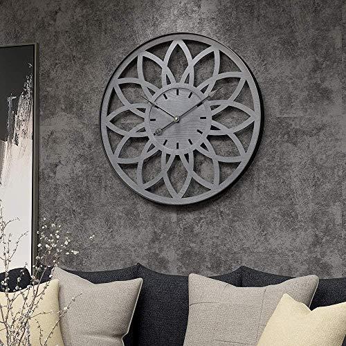 Reloj de pared retro creativo dormitorio hogar sala de estar decorativo reloj de pared metal reloj de pared gris engranaje (diámetro: 50 cm)