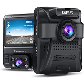 "Dash Cam - GPS Dual Car Camera Uber Crosstour 1080P Front and 720P Inside DVR Recorder with 2.4"" Screen IR Super Night Vision Parking Mode Motion Detection and G-Sensor"