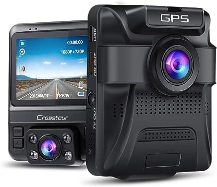 Uber Cámara de salpicadero de doble lente incorporada GPS en el salpicadero del coche Cámara Crosstour 1080P frontal y 720P interior con monitor de estacionamiento, visión nocturna infrarroja, sensor Sony, detección de movimiento, sensor G y WDR