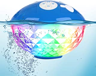 Bluetooth Speakers with Colorful Lights, Portable Speaker IPX7 Waterproof Floatable, Built-in Mic,Crystal Clear Stereo Sou...
