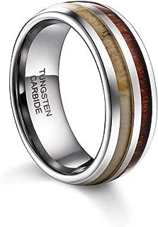 TUSEN JEWELRY Mens Wedding Band Deer Antler&Wood Tungsten Ring Comfort Fit 8MM