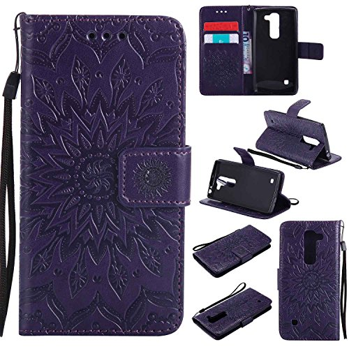 pinlu® PU Leder Tasche Etui Schutzhülle für LG Spirit 4G LTE (4.7 Zoll) Lederhülle Schale Flip Cover Tasche mit Standfunktion Sonnenblume Muster Hülle (Lila)