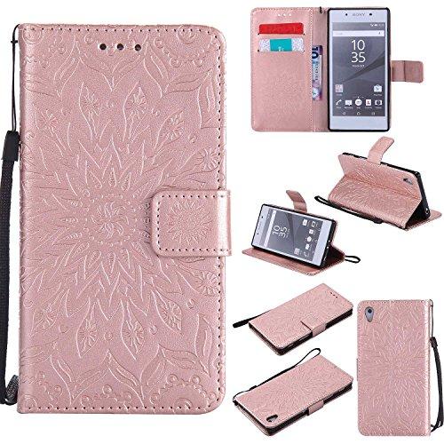 THRION Sony Xperia Z5 Hülle, PU Retro-Design Brieftaschenetui mit magnetischer Handschlaufe & Ständerhalterung für Sony Xperia Z5, Roségold