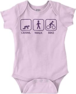 Brisco Brands Crawl Walk Bike Athletic Parents Baby Humor Romper Bodysuit
