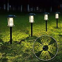 6-Pack LANSGARINE Glass Bright Garden Stake Solar Lights