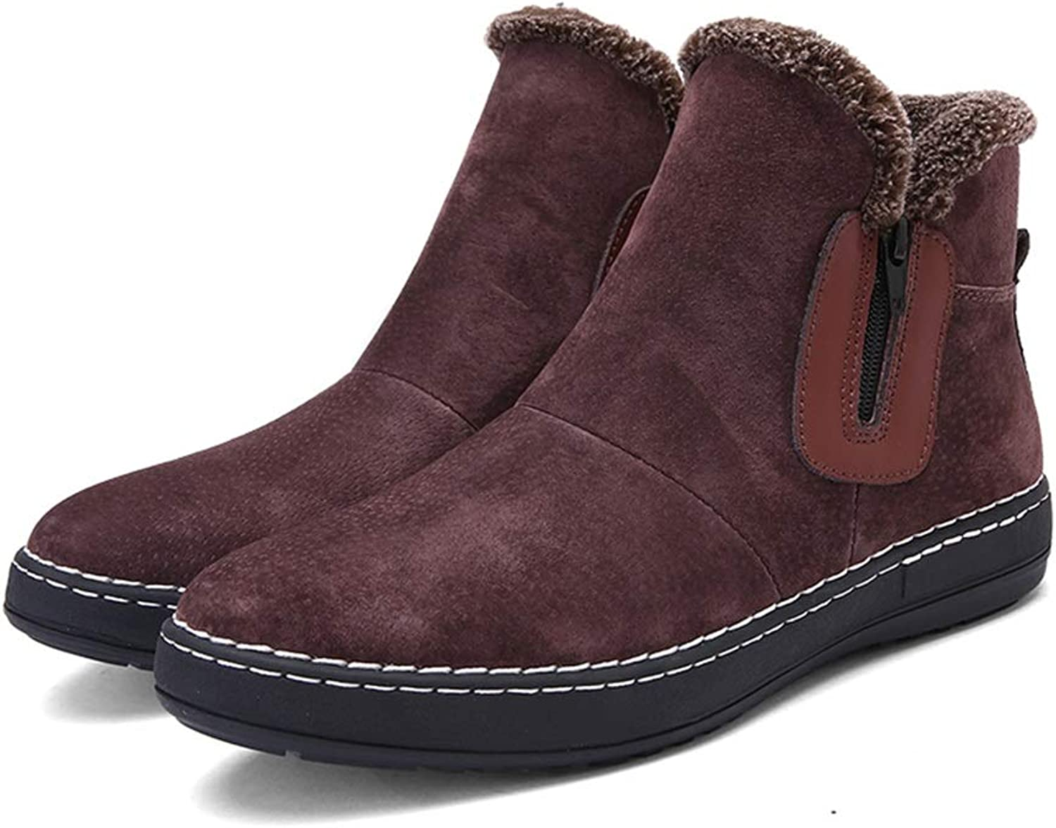 2018 New Mens boots, Men's Comfortable High Top Winter Faux Fleece Inside Home shoes Fashionable Snow Boots Casual (color   Brown, Size   8.5 UK)