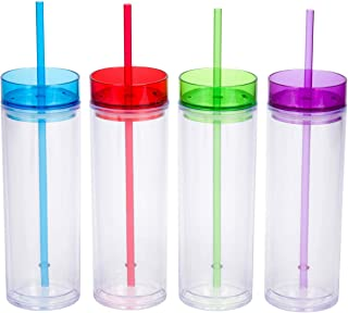 4 Pack - Top House Insulated Acrylic Tumblers with Colored Lids and Straws, 16oz Insulated Travel Cups, 8 Reusable Straws (Assorted Colors)