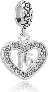 Heart Sweet 16 Charm Happy Birthday Beads Fits European Charm Bracelet