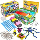 Creative Kids Air Dry Clay Modeling Crafts Kit - Super Light Nontoxic - 50 Vibrant Colors & 6 Clay Tools - STEM Educational DIY Molding Set - Easy Instructions – Gift for Boys & Girls 3+ (50 Pack)