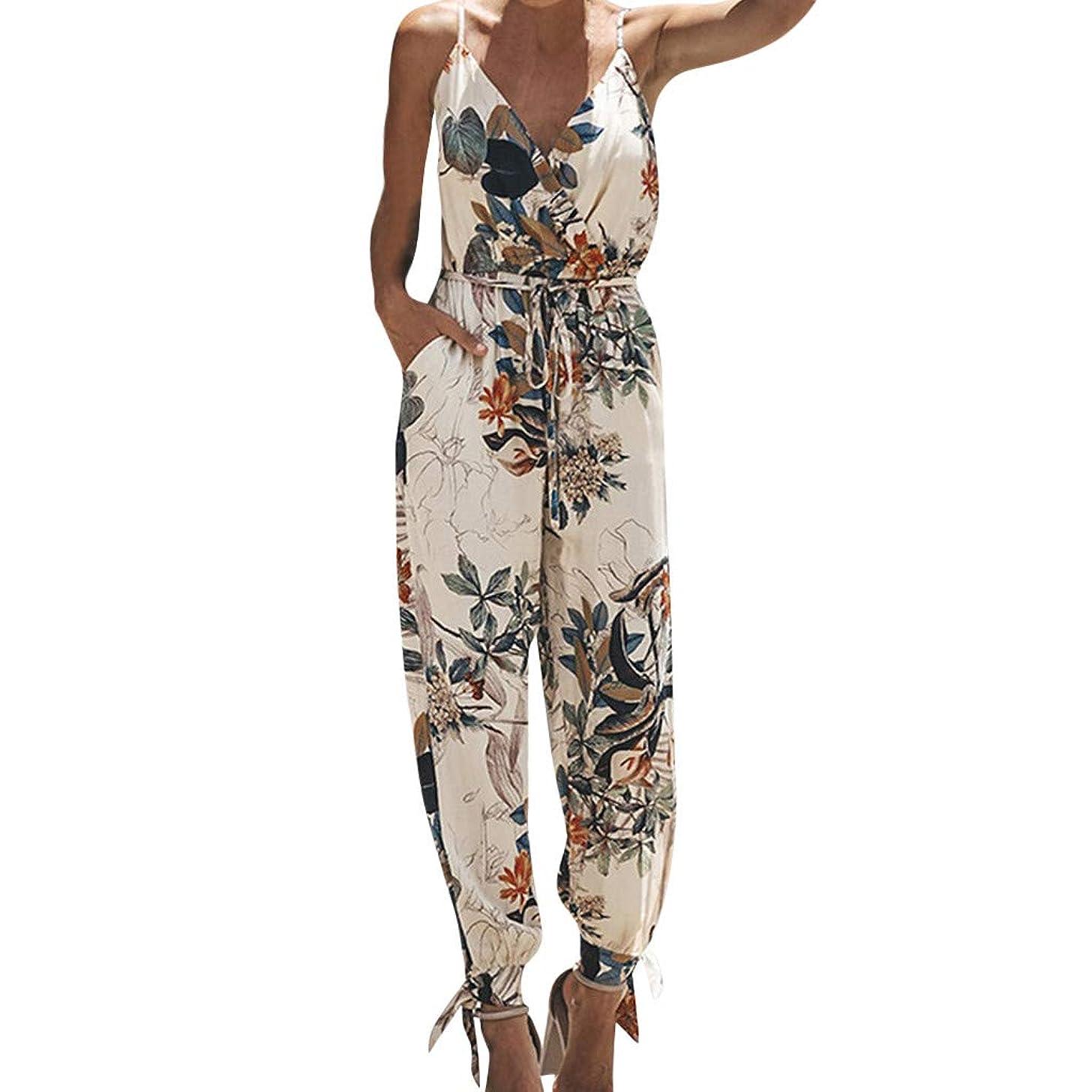 Women's V Neck Spaghetti Strap Drawstring Waisted Long Pants Jumpsuit Rompers Split Beam Foot Pants Playsuit Clubwear