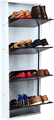 Parasnath White Brown Shoe Den with Bigger in Size/Shoe Rack White/Brown with 4 Shelves/ 4 Layer Shoes Stand Made in India