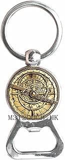 Steampunk Mysteries Wheel Bottle Opener Keychain Glass Mens Astrolabe Women Best Friends Key Ring-MT256