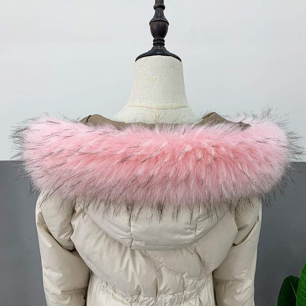 MAGIMODAC Pelzkragen Fellkragen Kunstfell Kunstpelz Kragen Fell Schal für Jacke Mantel Kapuze 60cm-90cm Pfirsich Rosa