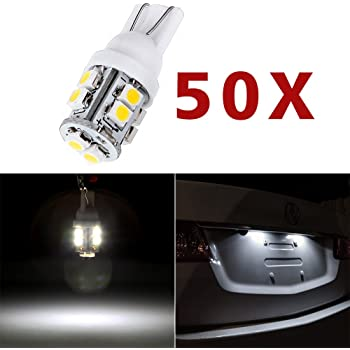 Set of 2 pcs License Plate T10 Wedge 9 Flux Yellow LED Light Bulbs 168 1 Pair