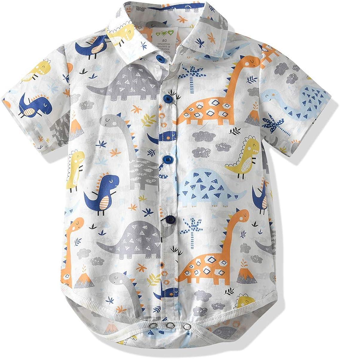 Baby Boys Formal Short Sleeve Shirt Infant Button Up Bodysuit Newborn Romper Clothes Animals Print Toddler