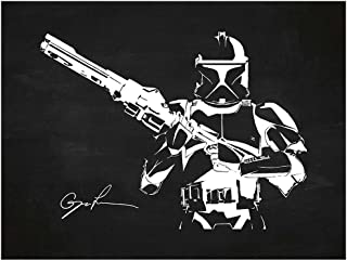 Inked and Screened SP_SYFI CH_24_W Sci-Fi and Fantasy Star Wars Characters: Stormtrooper Print, Chalkboard-White Ink, 18