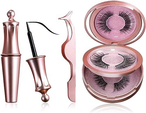 Jasmine Magnetic Eyeliners and Eyelashes, 2 Pairs Natural and Reusable Eyelashes with a Tweezer and Fashion Mirror Ki...