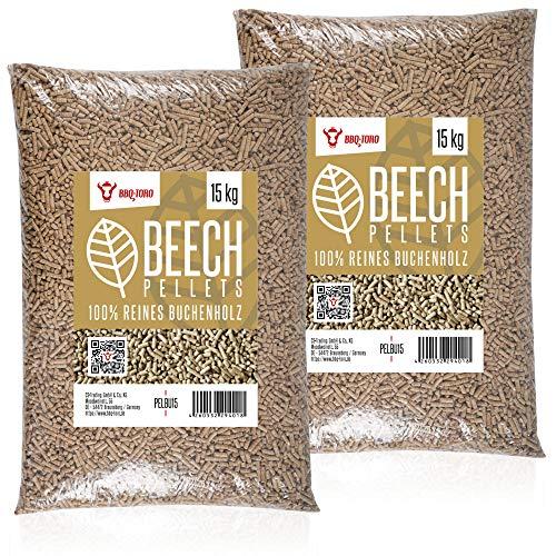 BBQ-Toro Beech Pellets aus 100% Buchenholz (30 kg) | Buchenpellets für Grill, Smoker, Pellet-Pizzaofen und Heizungsanlagen | Grillpellets