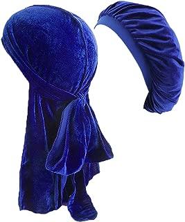 HADM Velvet Durag for Men Women 360 Waves Cap Bonnet Sleeping Hat Doo Rag Set