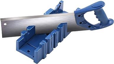 Futihing Caja ingletadora con guía, bloque de almacenamiento de sierra de carpintería, caja de ingletadora con ranura de ángulo de 45°/90°, caja de ingletadora de almacenamiento con sierra de corte