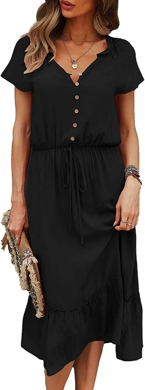 BROVAVE Women's Summer Casual Solid Short Sleeve Vintage Midi Dress Shirt Dress