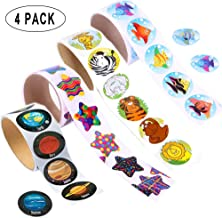 Kabvry Colored Animal,Tropical Fish,Solar System,Star Stickers,Children Kids Stickers Roll for Kids Party Favor,Girl Boy Birthday Gift,Teachers, Game Prizes,Novelty Toys(4 Roll of 400 Stickers)