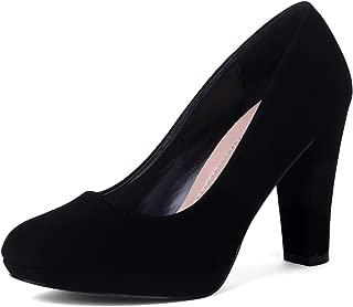 EMERLCY Women's Classic Heels Round Toe Pump Platform Shoes
