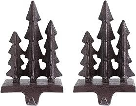 Woodland Forest Rustic Style Cast Iron Stocking Holder (Set of 2)