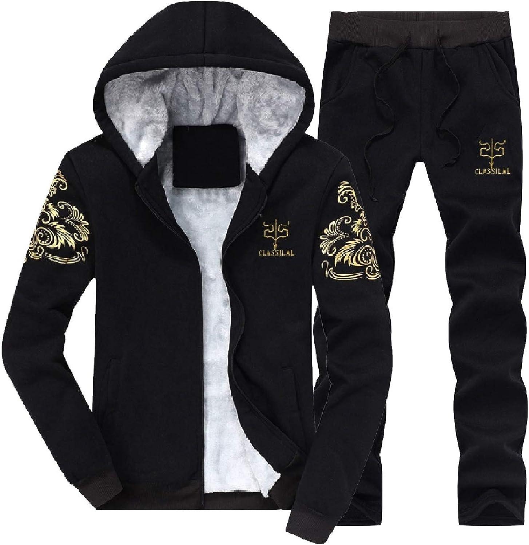 Howme-Men with Zips Fleece Lined Warm Athletic Jacket & Long Pants Set