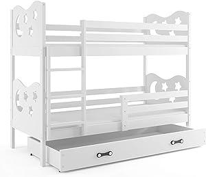 Interbeds Lit superposé Miko 190x80 sommier, Matelas tiroir-Coffre, Blanc + la 2eme Couleur choisie (Blanc+Blanc)