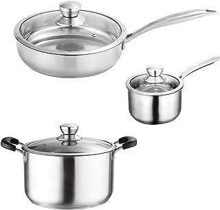 Juego de utensilios de cocina, acero inoxidable, apto para placas de inducción, apto para lavavajillas, sin PFOA