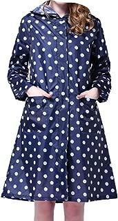 Provide The Best Muchacha Mujer Reutilizable portátil Polka Dots Moda con Capucha Impermeable Largo del Poncho con Bolsillos Delanteros
