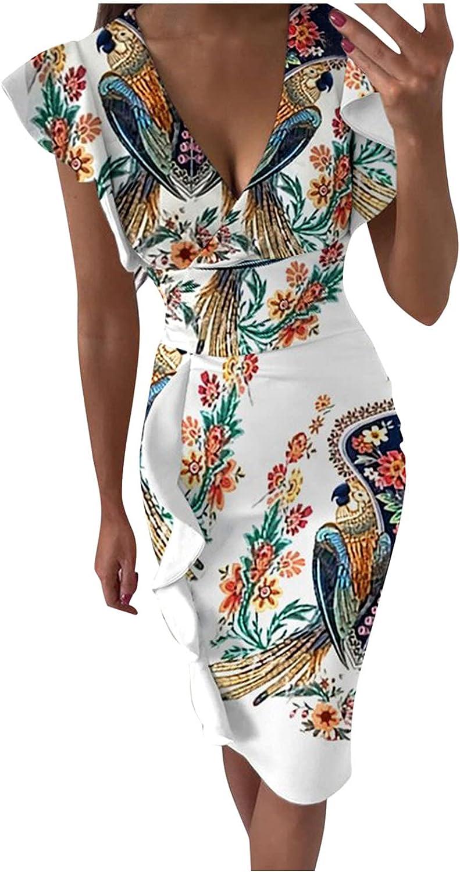 ZiSUGP Dresses Wedding Guest, Women Casual Crew Neck Ruched Sleeveless Tank Bodycon 2021 Shirt Short Midi Dresses