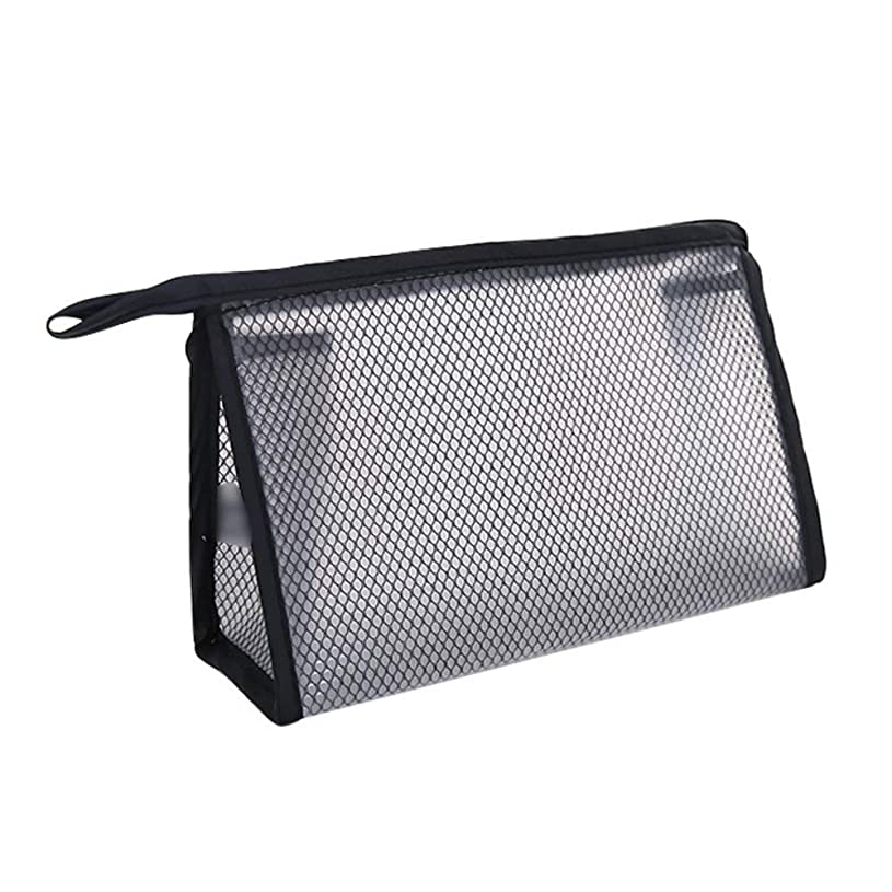 アルカイックヘビーバッテリー化粧ポーチ メッシュ 洗面用具入れ トラベル 軽量 便利 ブラック