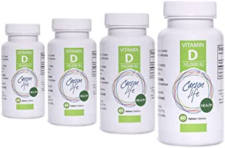 CARSON LIFE Vitamin D 10,000 IU Tablets 4 Pack - Excellent Supplement for Vitamin D Deficiency - Helps Strengthen Bones, Teeth and Immune System - 240 Servings - Made in The USA
