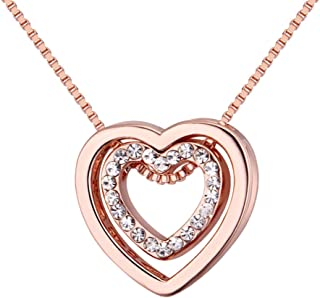 Love Heart Necklace - Crystal from Swarovski Rose Gold Plated Pendant Necklace for Women Mom Gift