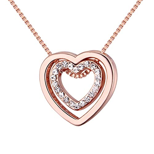 98305117f Love Heart Necklace - Crystal from Swarovski Rose Gold Plated Pendant  Necklace for Women Mom Gift
