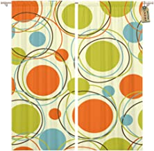 Golee Window Curtain Colorful Pattern Retro Abstract 1950S Mid Century 1960S Modern Home Decor Rod Pocket Drapes 2 Panels Curtain 104 x 63 inches